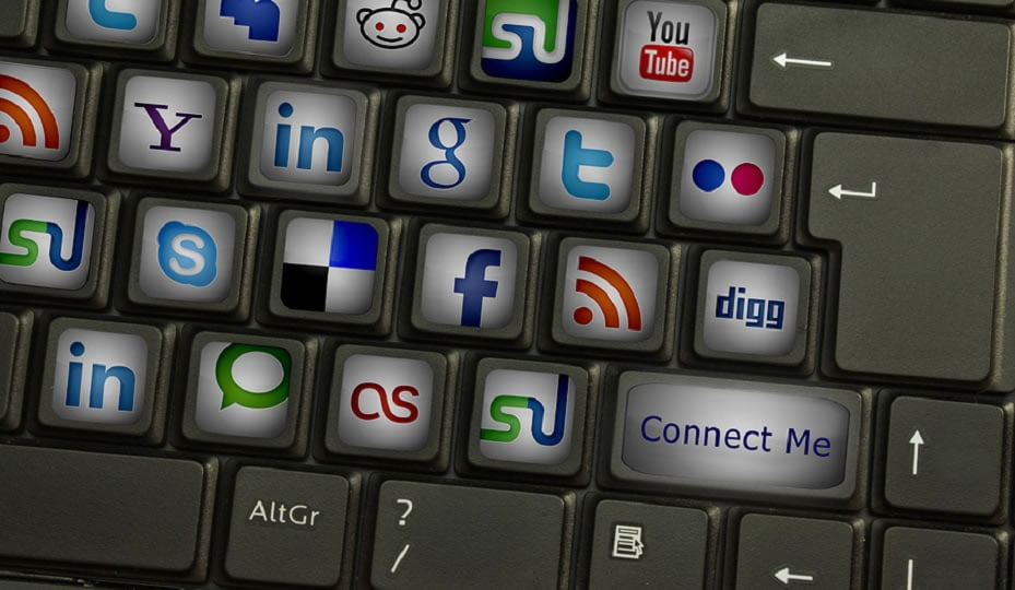 keyboard with social media icons