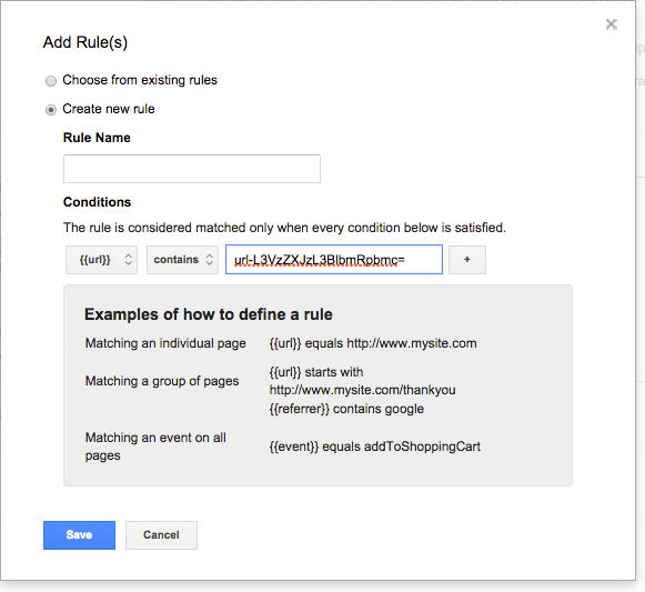 Rules in Google tag manger