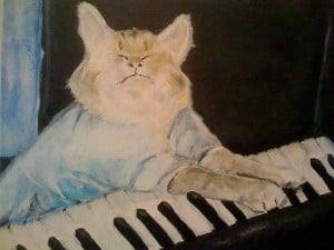 Keyboard Cat, Acrylic on Canvas by Bud Caddell