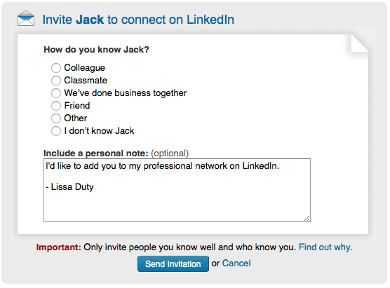 LinkedIn Best Practice for Sending Invitations