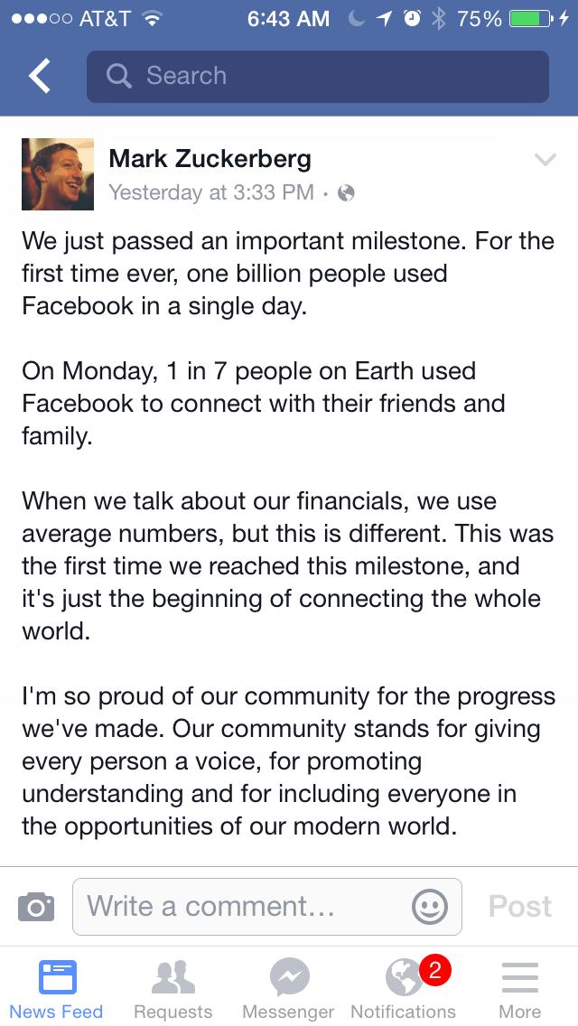 Facebook Reports 1 Billion Logins