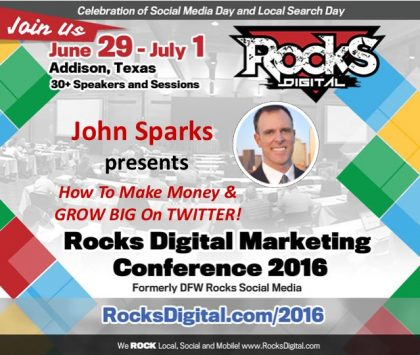 @IAmJohnSparks, Social Media Influencer Presents on Twitter at Rocks Digital 2016