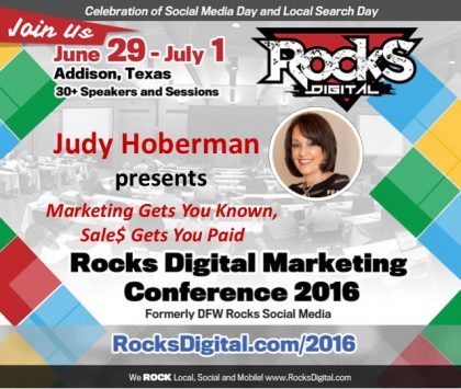 Learn the Secret Sauce of Selling With Judy Hoberman at Rocks Digital 2016