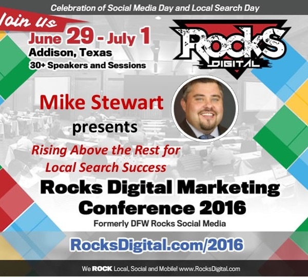 Mike Stewart presents on standout Local SEO Strategies at Rocks Digital 2016