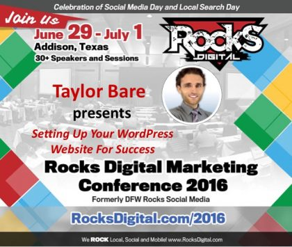 Breathe Life Into Your WordPress Website with Taylor Bare at Rocks Digital 2016