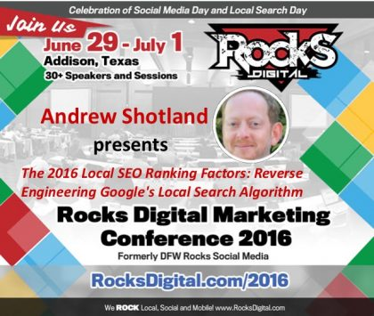 Andrew Shotland, The @LocalSEOGuide, to Present Keynote on Local SEO Ranking Factors at Rocks Digital