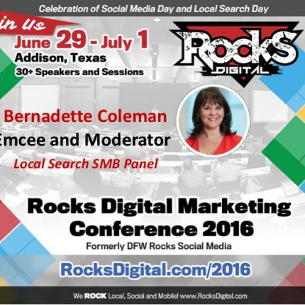 Bernadette Coleman, Rocks Digital Co-founder to Moderate Local Search Day Panels