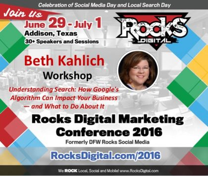 Beth Kahlich to Teach Understanding Search and What to Do About It Workshop at Rocks Digital