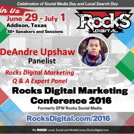 DeAndre Upshaw Brings His Humor and Expertise to the Rocks Digital Marketing Q & A Panel!