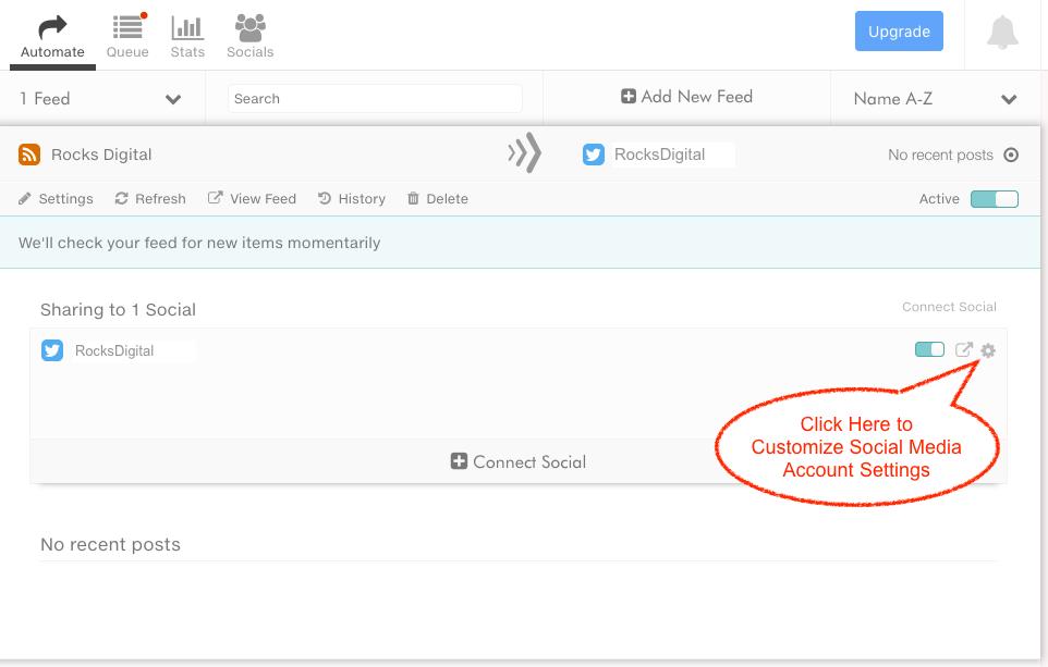 customizing social media settings in dlvr.it