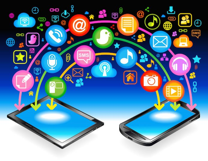 two mobile devices with social media icons