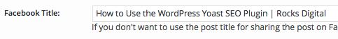 WordPress SEO by Yoast Facebook Title