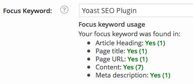 WordPress SEO by Yoast Focus Keyword