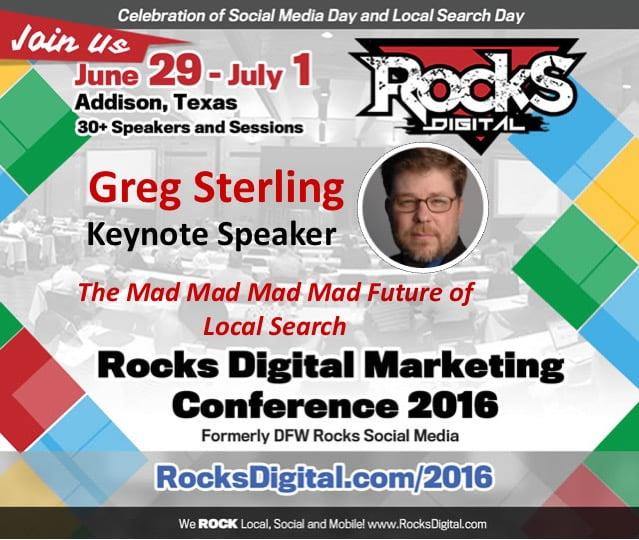 Greg Sterling, Keynote Speaker, Rocks Digital 2016