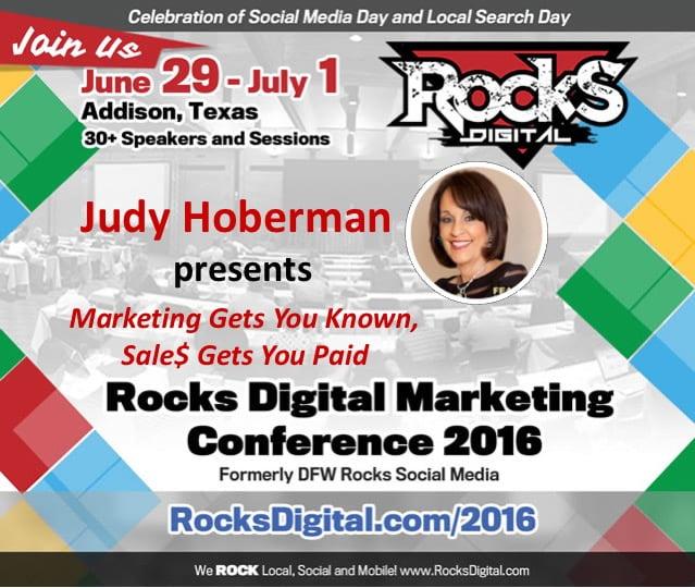 Judy Hoberman Sales Presenter Rocks Digital 2016