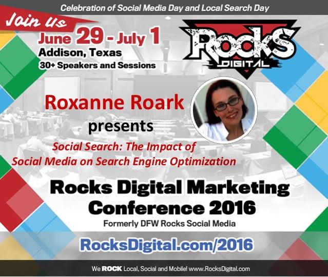 Roxanne Roark presents on Social Media Day Rocks Digital 2016