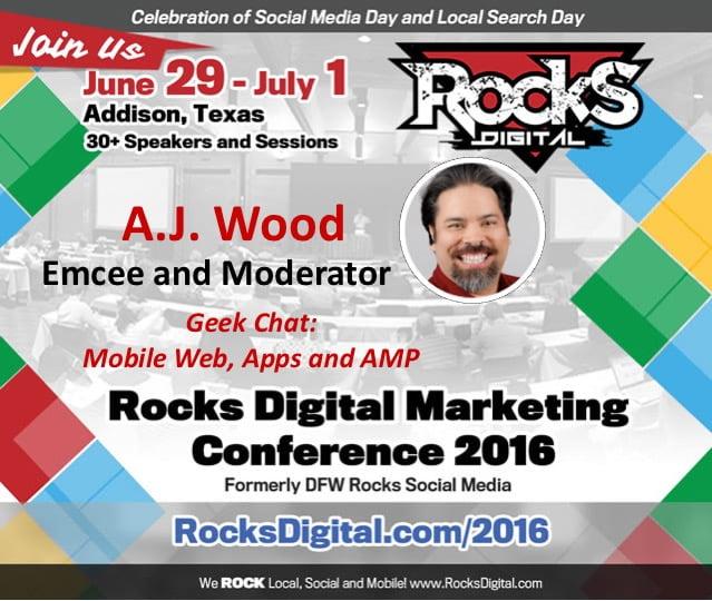 A.J. Wood to moderate Mobile Web Rocks Digital 2016