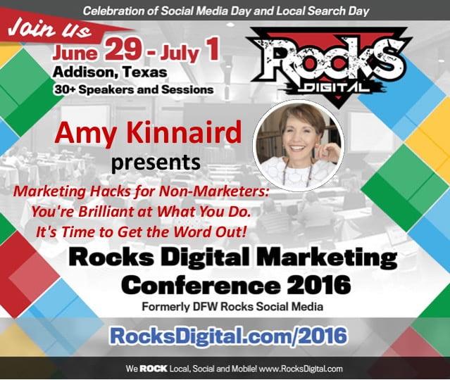 Amy Kinnaird Marketing Hacks at Rocks Digital Marketing Conference Dallas 2016
