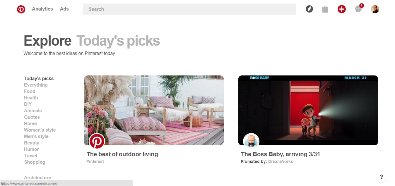 Todays Pinterest Picks on Desktop