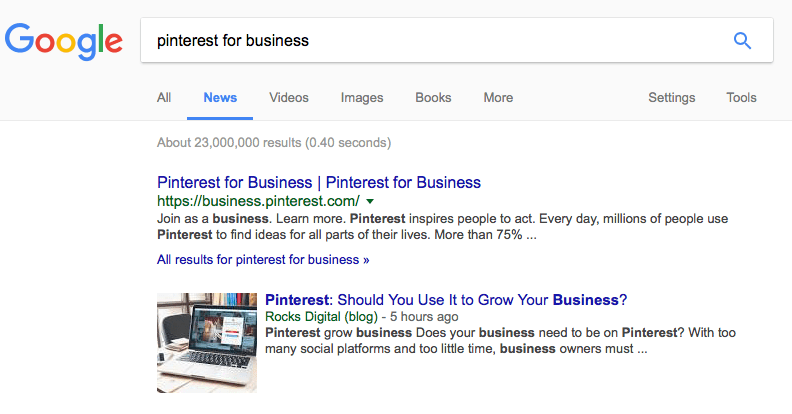 Pinterest for Business in Google News