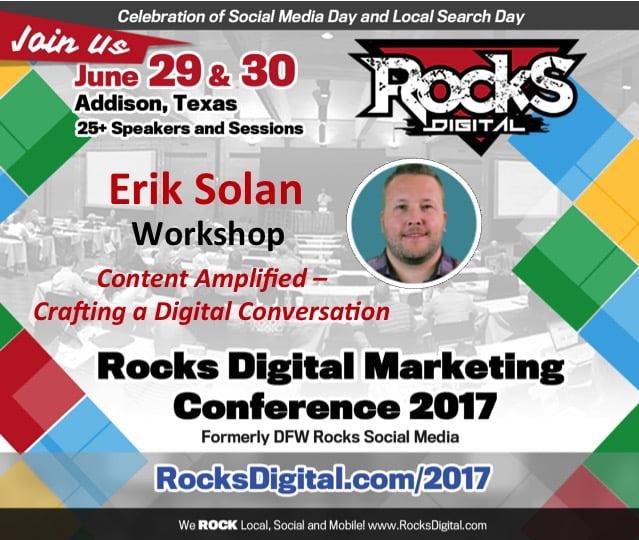 Erik Solan, Content Marketing Expert to speak at Rocks Digital Marketing in Dallas