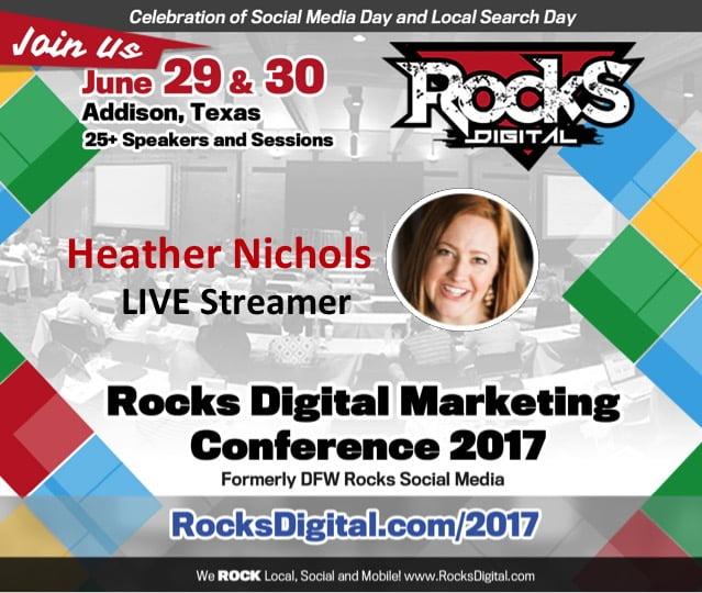 Heather Nichols, to Live Stream at Rocks Digital 2017