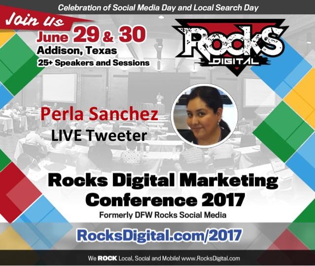 Perla Sanchez to Live Tweet at Rocks Digital 2017
