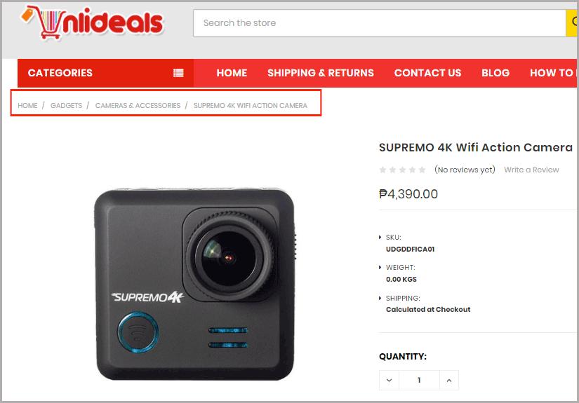 eCommerce Website Breadcrumbs Example