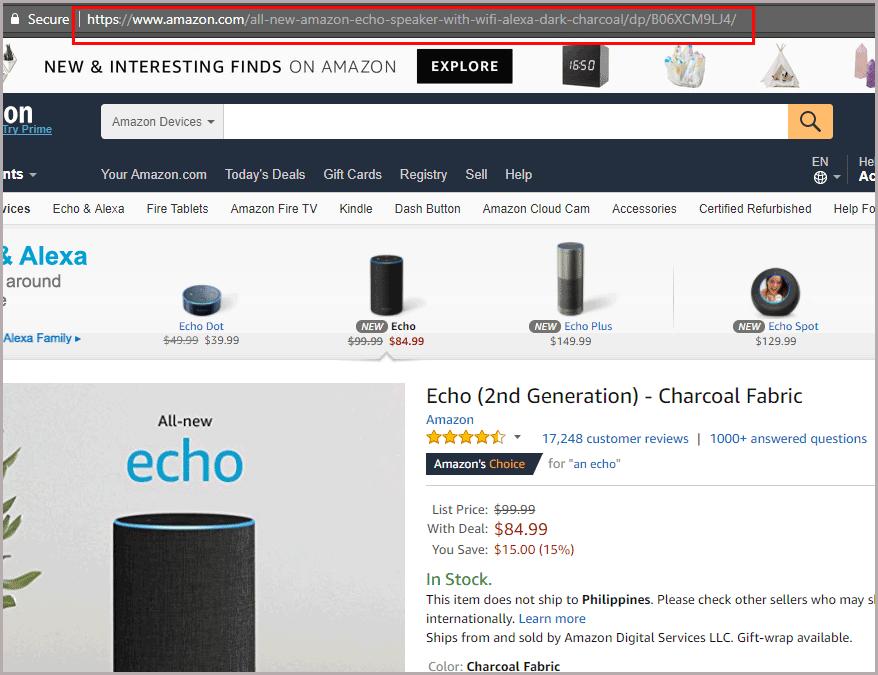 eCommerce Website Product URL Example