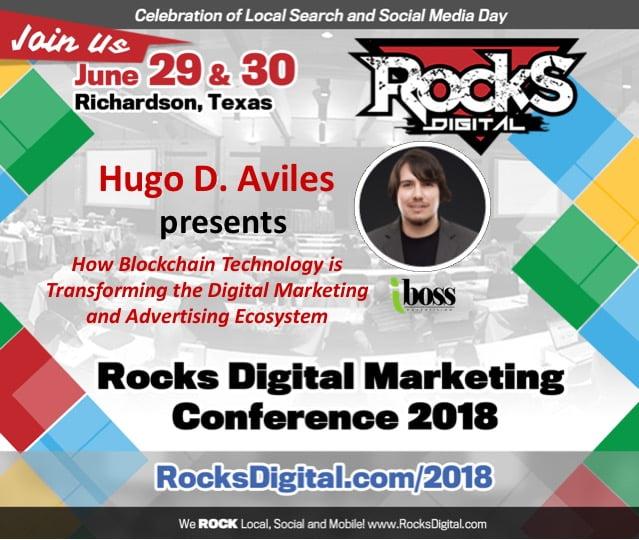 Hugo D. Aviles, Blockchain Portfolio Manager, to Speak on Digital Marketing Smart Contracts at Rocks Digital 2018