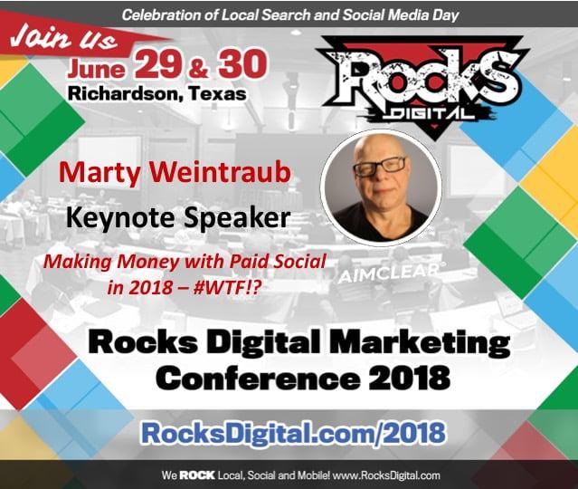 Marty Weintraub, Social Media Maverick, to Keynote on Paid Social at Social Media Day 2018 in Dallas