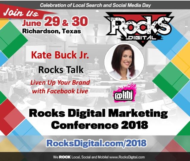 Kate Buck Jr., Digital Nomad and Social Media Pro, to Speak on the Four P's of Live Video at Rocks Digital 2018