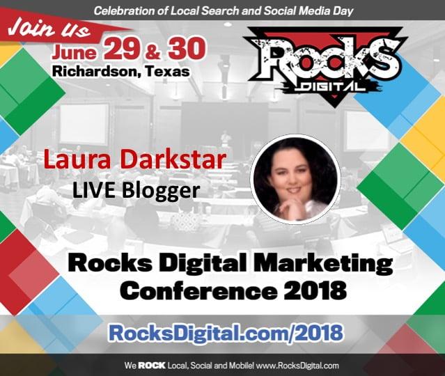 Laura Darkstar, Live Blogging Superhero, Returns to 2018 Rocks Digital Marketing Conference